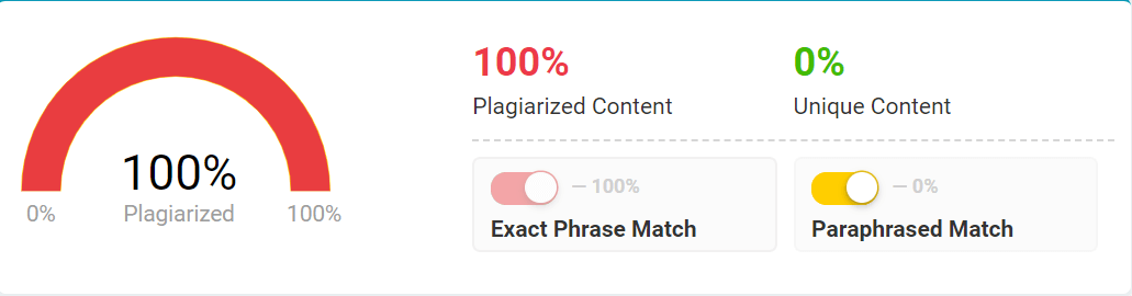 Plagiarism checker with percentage