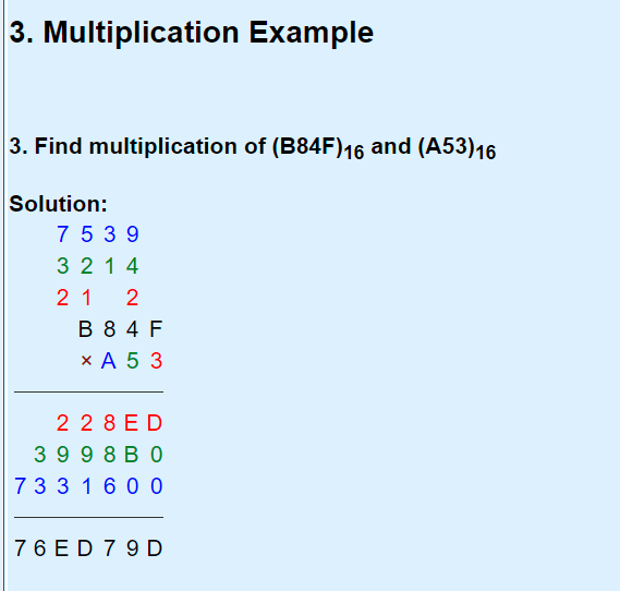 hex multiplication
